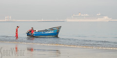 Fishing and Cruising (Sue_Hutton) Tags: sea beach fishermen morocco maroc fishingboat cruiseboat december2015