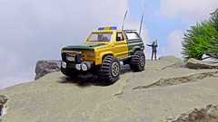 Border Patrol (ManOfYorkshire) Tags: matchbox border patrol rangers bluelight 911 999 policeman riot diorama 164 modified bullbars lights winch aerials 4x4 rock sky detailed chevy chevrolet blazer