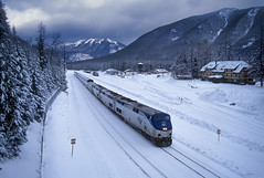 Christmas Eve Empire Builder (Moffat Road) Tags: amtrak no8 8 empirebuilder 192 ge p42dc passengertrain izaakwaltoninn bnsf essex montana mariaspass train railroad locomotive mt