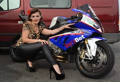 Holly NF 158 (Fast an' Bulbous) Tags: bmw s1000rr bike biker chick babe motorcycle fast speed power people outdoor dragbike girl woman model pinup hot hotty sexy high heels stilettos leather pvc leggings jeans legs long brunette hair pose nikon d7100 gimp leopard print