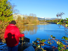 The two of us on a beautiful, cold winter's day in West Vancouver (+3) (peggyhr) Tags: peggyhr winter shadow snowynorthshoremountains capilanoriver reflections trees bridge blue red white dsc02798a vancouver bc canada sp ♣scapes thegalaxy super~sixbronze☆stage1☆ infinitexposurel1 level1peaceawards heartawards visionaryartsgallerylevel1