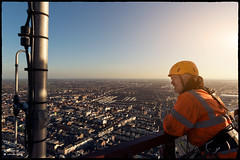 Top of Blackpool (Lee Ramsden) Tags: blackpool tower lancashire fylde wyre council lift worker working hard hat height engineer landscape view point houses borough rope access top hiviz merlin irata industrial