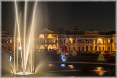 """Christmas ligths at the public gardens of Varese (""""Max Deca"""") Tags: fountain foreground christmas lights publicgardens varese evening scenic house municipality holiday city water"""