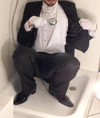 white-tie-shower-1_10300230315_o (shinydressshoes) Tags: tails tailcoat tuxedo suit muddy gunge wet shiny shoes shinyshoes leather patent dressshoes groom wedding whitetie frack formal shower lackschuhe lackschuh