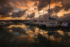 Marina Sunset II (Tracey Whitefoot) Tags: 2016 tracey whitefoot australia queensland port douglas marina sunset dusk boats reflection reflections