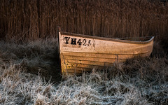 Forgotten -  Explored 27/1/2017 (merseamillsy) Tags: grass grassy frost boats mersea texture textures reeds abandoned frosty coastal grasses reed merseaisland coastline coast dinghy forgotten