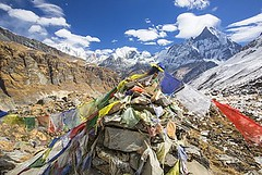 911-9043 (gulfforgood) Tags: traveldestination photography colorimage horizontal day outdoors landscape landscapes scenics mountains customs religion buddhist buddhism prayerflags windy fluttering basecamp basecamps annapurna annapurnabasecamp annapurnasanctuary himalayas nepal asia cairn cairns machapuchare macchupucchare
