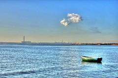 Fawley from Meon Shore (Rob_Pennycook) Tags: tonemapped photomatix meonshore seascape boat rowingboat rowboat fawley meon blue sky cloud