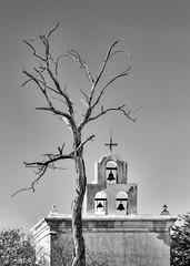 Sunbaked (docoverachiever) Tags: building tree church missionsanxavierdelbac historic bells architecture arizona three blackandwhite cross tucson