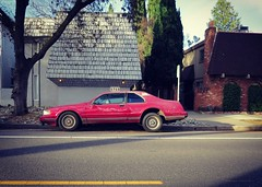 Lincoln Mark VII in mid-molt (rickele) Tags: midtownsacramento lincolnmarkvii coupe peelingpaint needswork apartments