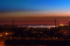 Dirty Sunset (Cederquist Christoffer) Tags: dirtysunset sunsetmagic sunset sunlight sunglow bridge water urban majorna göteborg sverige gothenburg sweden vy view scape cityscape longexposure skyline sky blue red