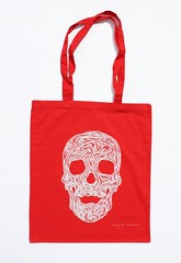 Swirly Skull Tote (white on red) (Wayne Chisnall) Tags: pink blue red orange green yellow skulls skeleton grey screenprint lilac cotton bones forgetmenot bags tote shopper totes deathshead totebags shoppingbags tattoodesign screenprints artprints tattoodesigns sull deathhead screnprint cottonshoppingbags cottontotes artbags skulldesign cottonshoppingbag skulldesigns shopperbags skeletondesign artistsscreenprints colouredtotes skeletondesigns artistsbags greygreenlilac artshoppingbags