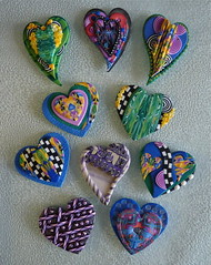 Heart Swap 2014 Group 4 (auntgriz) Tags: hearts colorful handmade polymerclay swap scraps textured layered knightworkstudio
