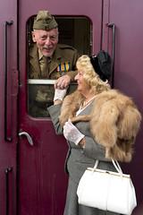 Rushden 40s Weekend 3 (Darwinsgift) Tags: world costumes 2 station train 35mm war weekend northamptonshire 1940s ii uniforms f2 nikkor reenactment ais wartime rushden