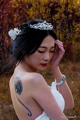 Bride at Chonggu Grassland (Pic_Joy) Tags: china autumn mountain snow bride asia stream pasture   daocheng sichuan yading   bridalgown          chonggupasture