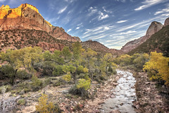 From the Bridge at Zion (magnetic_red) Tags: blue trees sky mountains water colors beautiful clouds river landscape nationalpark desert fallcolors scenic canyon virgin zion naturalwonder americanwest goldenmasterpiece