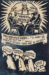 Suffrage campaigning: 4 women 'Go Away! We Do Not Want You,' Spirit Of Reform 'Have You No Sisters?' c.1912