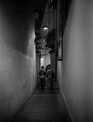 Alley (by Night) (DomiKetu) Tags: street light people blackandwhite bw black 120 film monochrome night analog lights mono blackwhite alley 645 fuji romania push mf pushed 6x45 ilford iso1600 sibiu delta400 selfdeveloped gs645 mediuformat homemadesoup blackwhitephotos