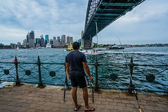 DSC00013 (Damir Govorcin Photography) Tags: fishing man male person water sea ocean sydney harbour bridge buildings skyline clouds milsons point natural light perspective creative zeiss 1635mm sony a7rii architecture boats landscape