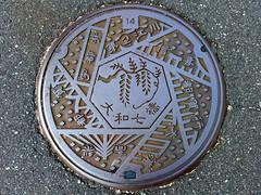 Daiwa Shimane, manhole cover (島根県大和村のマンホール) (MRSY) Tags: daiwa shimane japan manhole bridge tree 大和村 島根県 日本 マンホール 橋 木