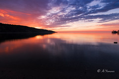 The Sun Rising (Ali Yamaner) Tags: sun rising sunrise tadoussac canada quebec saint lawrence river red orange landscape outdoor nature wow