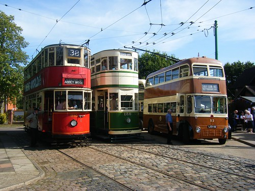 London Transport HR2 tram No. 1858, Blackpool Standard car No. 159 and Maidstone Corporation trolleybus No. 52.