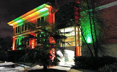 PoCo City Hall (gerry.bates) Tags: portcoquitlam bc canada christmaslights coloredlights building cityhall architecture seasonal night trees palmtree exterior facade
