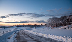 clearing a way (almostsummersky) Tags: horizon snowfall sunrise winter winterstorm dawn maine snow fortwilliamspark trees road travel forest fortis sky park clouds morning snowbank fence capeelizabeth unitedstates us