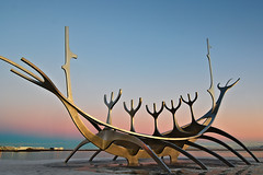 Solfarith (kevin.bates4@yahoo.ca) Tags: solfarith sun voyager reykjavik iceland sculpture sunrise dawn colours warmth