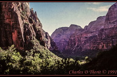 Zion National Park (ctofcsco) Tags: 1991 analog blue brown canon canoscan canoscan9000fmarkii canyon ef35105mmf3545 eos eos620 explore explored film green landscape mountains red rock scanned slide trees unitedstates usa geo:lat=3725034318 geo:lon=11295778560 geotagged springdale utah zionlodge