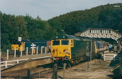 Photo of 50007 'Sir Edward Elgar' and 50033 'Glorious' at Bodmin Parkway with the 13.30 Plymouth to Penzance Royal Duchy special. 50042 waits in the Bodmin Steam Railway platform with a departure for Bodmin General.