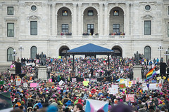 Stage of the Minnesota women's march (Fibonacci Blue) Tags: stpaul protest march woman women demonstration event dissent feminism outcry feminist activism outrage twincities activist minnesota trump republican people crowd gop liberal outdoor
