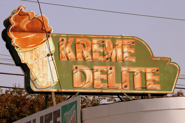 Kreme Delight neon sign - Athens, AL