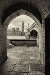 Ben. Big Ben. (Pat Charles) Tags: london england unitedkingdom uk travel tourism bigben housesofparliament parliament bridge frame thames river framing arch archway blackwhite bw monochrome city urban