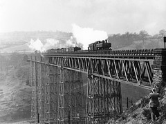 Crumlin 12.4.54 (robmcrorie) Tags: white black monochrome wales train rail railway 1954 steam viaduct 1950s railways gwr crumlin biritsh 12454