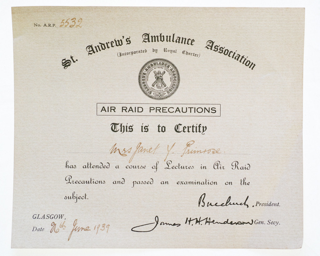 Carol Primrose - Family archive WW2 First Aid Certificate - civilian history