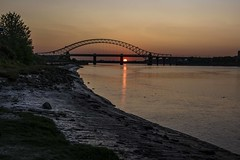 Sunset over River Mersey (joanjbberry) Tags: sunset sky reflection river island golden pentax clearsky runcorn k3 cameraclub rivermersey wiggs runcornbridge runcorndocks moorecameraclub pentaxk3 wiggsisland