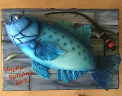 Fishing cake (Twinkies630) Tags: cake trout bluefish airbrush fishingpole fishingcake