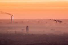Before sunrise - steel mill in Krakow (TomaszMazon) Tags: morning sunrise smog smoke poland krakow dirty pollution chimneys greenhouseeffect heavyindustry envirionment