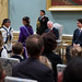 Prime Minister Justin Trudeau and Governor General David Johnston watch a musical perfomance during the swearing-in ceremony at Rideau Hall. November 4, 2015.