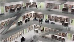 Bookshelves (Patrick Scheuch Photography) Tags: white architecture modern europa europe stuttgart library bibliothek books architektur livres bcher schwaben badenwrttemberg stadtbcherei weis bcherei stadtbibliothek sddeutschland baw bcherregale