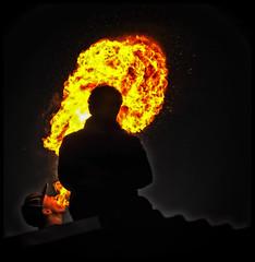 A bit too Spicy (glessew) Tags: people boys netherlands fire rotterdam leute nightshot nederland paysbas feu jungs niederlande mensen vuur feur jongen garons