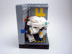 KS-612 'Scylla' in Hangar 4 with 7P figure for sizing (Jay Biquadrate) Tags: lego frame diorama mecha mech moc microscale mfz mf0 mobileframezero
