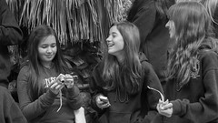 Funny Times (Black and White) (Kevin MG) Tags: usa losangeles conventioncenter people outdoors girls teen preteen young cute pretty little youth smiles blackandwhite blackwhite bw monochrome california child kid kids children