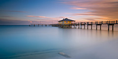 Sunset at the Mullet Key Pier (josesuro) Tags: longexposure sunset digital landscape tampabay florida fineart bridges cameras locations lenses ftdesoto 2015 camerasandlenses leebigstopper afsnikkor1835mmf3545ged jaspcphotography nikond750