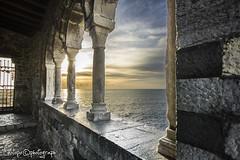 chiesa colonne (linotopo) Tags: sunset sea tramonto mare chiesa portovenere controluce laspezia spietro