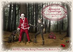Happy Holidays 2016 (Stefanie Timmermann) Tags: santa ninja presents tie rope tree dog oldfashioned humor droll kitsch studio26 holidays
