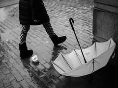 Abandoned in the Rain (votsek) Tags: 2017 lumix blackandwhite monochrome boston street urban umbrella rain pavement wet abandoned people