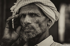 Who is speaking (karmajigme) Tags: portrait man human rajasthan india travel monochrome blackandwhite noiretblanc nikon