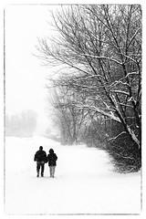 merry christmas (Sandy...J) Tags: christmas snow landscape blackwhite monochrom romantic people snowfall winter photography natur